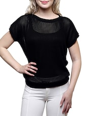 black poly cotton knitted top -  online shopping for Tops