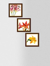 Multicolored Synthetic Wood And Paper Floral Printed Wall Painting With Frame - By