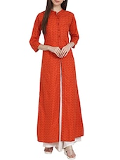 Orange Rayon Printed High-slit Kurta - By