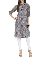 Multi Colored Cotton Printed Shirt Collar Kurta - By