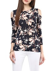 navy blue floral printed cotton regular top -  online shopping for Tops