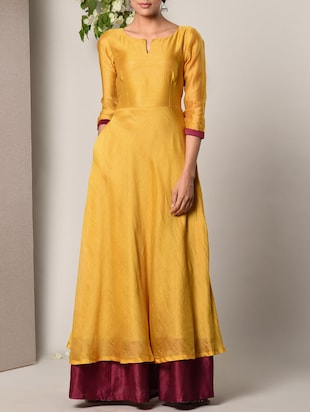 yellow cotton blend gown -  online shopping for Dresses