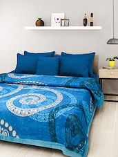 Blue Polyester Printed Double Bed Mink Blanket - By
