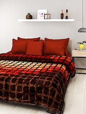 Brown Polyester Checkered Double Bed Mink Blanket - By