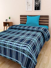 Navy Blue Checkered Single Bed Blanket - By