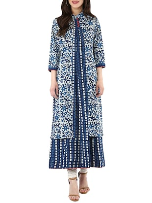 Indigo cotton printed kurta -  online shopping for kurtas