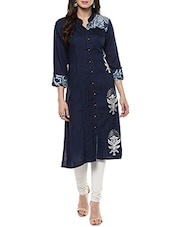 Indigo rayon block printed a-line kurta -  online shopping for kurtas