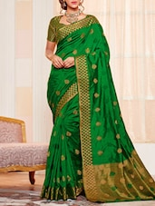 green raw silk woven saree -  online shopping for Sarees