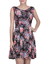 Black Floral Printed Rayon Gathered Dress - By