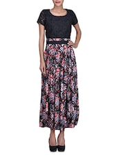 Black Floral Printed Rayon Dress With Lace Details - By