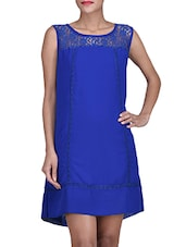 Royal Blue Georgette Dress With Lace Details - By