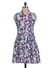 Blue Cotton Floral Printed Dress - By