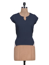 Navy Blue Georgette Plain Top - By