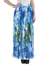 Blue Crepe Printed Pleated Long Skirt - By