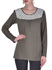 Brown And White Knitted Cotton Top - By