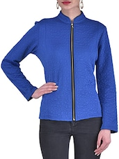 Blue Knitted Polyester Winter Jacket - By