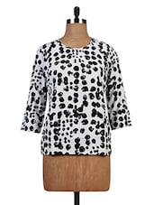 Black And White Polycrepe Printed Top - By