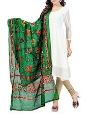 Green Cotton Printed Dupatta - By