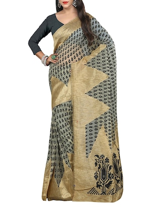 black silk blend tussar saree -  online shopping for Sarees