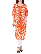 Orange Cotton Straight Kurta - By