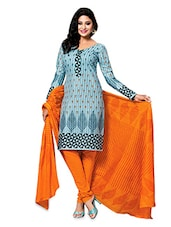 Blue And Orange Cotton Printed Unstitched Suit Set - By