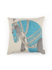 Horse Inspired Hand Painted Organic Cotton Cushion Cover - By - 13280229