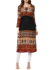multi colored rayon printed straight kurta -  online shopping for kurtas