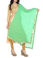 Green Chiffon Embroidered Dupatta - By