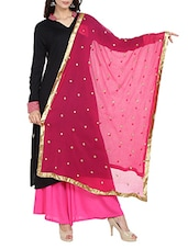 Pink Chiffon Embroidered Dupatta - By