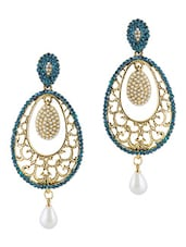 Blue Stone Embellished Polki Drop Earrings - By
