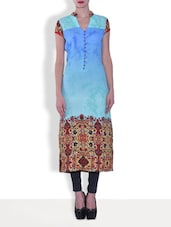 Blue Crepe And Georgette Printed Mega Sleeve Kurta - By