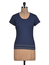 Navy Blue Cotton Top With Lace Hem - By