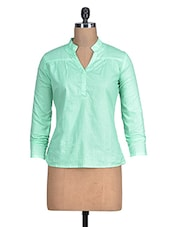 Mint Green Full Sleeved Cotton Top - By