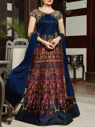Multicoloured unstitched anarkali suit set -  online shopping for Dress Material