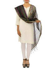 Black And Multicolor Striped Silk Blend Stole - By