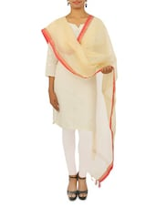Off-White Chanderi Stole With Zari And Red Border - By