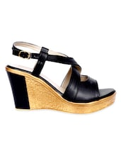 Black Buckled Faux Leather Wedge Sandals - By