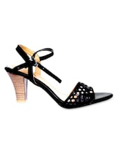 Black Cutwork Faux Leather Block Heel Sandals - By
