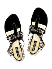 Black And Gold Embellished Patent Leather Flat Sandals - By