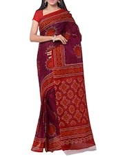 purple cotton bandhani saree -  online shopping for Sarees