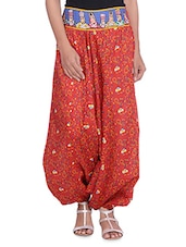 Red Printed Cotton Harem Pants - By