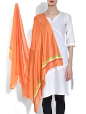 Orange Viscose Striped Dupatta - By
