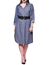 blue chambary belted dress -  online shopping for Dresses