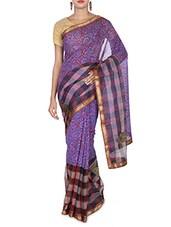 Purple Cotton And Art Silk Patch Worked Banarasi Saree - By