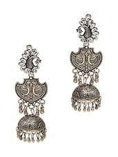 Silver German Silver Etched Jhumkas -  online shopping for Sets