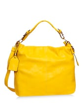 Yellow Leatherette Hobo Bag - By