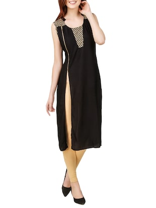 black rayon high slit kurta -  online shopping for kurtas