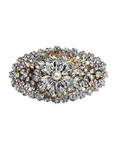 white metal embellished hair clip -  online shopping for Hair accessories