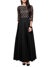 black crepe laced gown -  online shopping for gowns