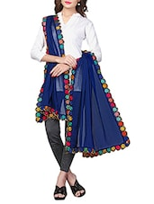 Blue Chiffon Embroidered Phulkari Dupatta - By